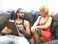 Blonde Interracial Lingerie Mature Stockings