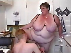 BBW Big Boobs Granny Old and Young Threesome