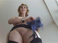 Blonde British Granny Mature Stockings