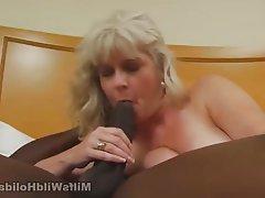 Blonde Blowjob Interracial Mature MILF