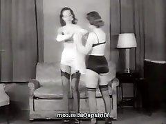 Brunette Lingerie MILF Stockings Vintage